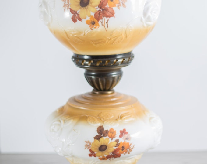 Gone With the Wind Parlor Lamp with Autumn Orange and Yellow Colors / 1970's Vintage 2 Tiered Accent Desk Light with Raised Milk Glass Roses