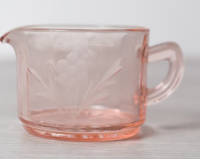 Antique Pink Glass Creamer - Vintage Depression Glass Etched Floral Spouted Mini Pitcher - Pink Decor - 1930s Home Decor