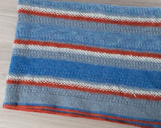 Vintage Stripe Blanket / Small Handmade Red and blue Pinstripe Baby BlanketThrow / Woven Blanket