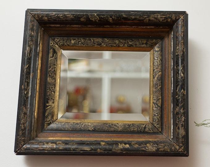 Vintage Black Mirror - hand Carved Victorian Style Hanging Wall Mirror or Bathroom Mirror - Rustic Boho Modern Minimalist Bedroom Decor