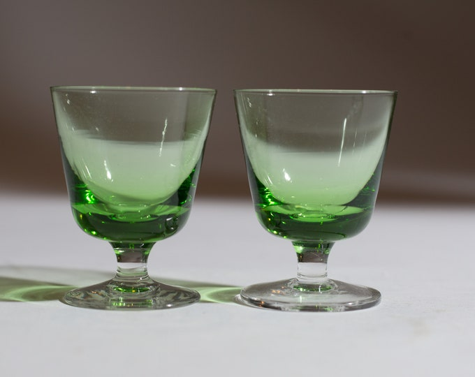 2 Vaseline Apéritif Glasses - 1oz Pair of Antique Uranium Small Depression Glass Collectible Serving Stemware - Glows Under Blacklight