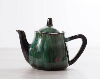 Vintage Teapot / Ceramic Blue Mountain Pottery Emerald Marble Green and Black Coffee Pot / Boho Earthtone Terracotta Tea Pot  Made in Canada