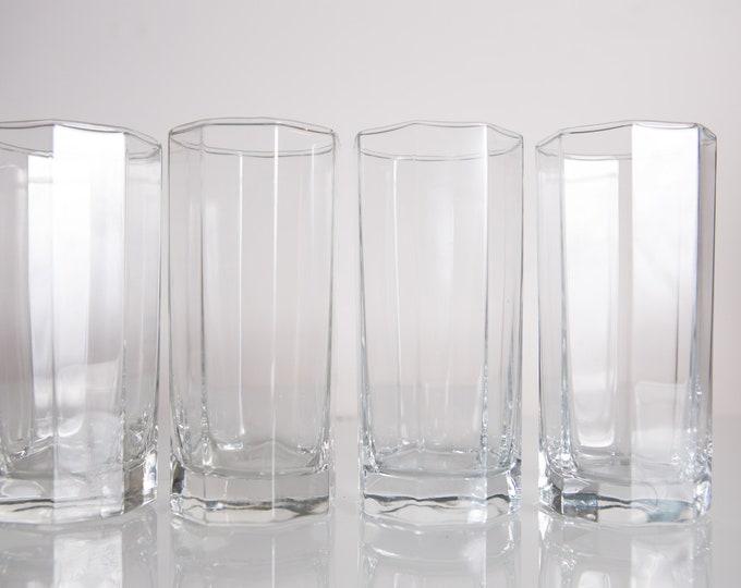 4 Octagon Cocktail Glasses - 12oz Vintage Highball Tumbler Barware Drinking Glasses - Retro Geometric Drinking Water Glasses - Retro Modern
