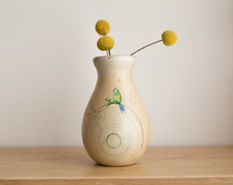 Marbled Stone Vase - Cream Coloured Alabaster Bud Vase with Painted Birds -Modern Boho Vibes - Puerto Plata Dominican Republic