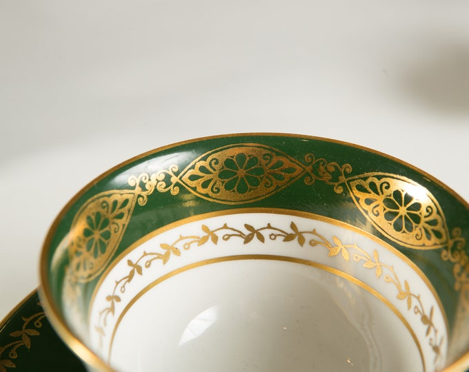 Vintage Bone China Teacup - Aynsley Tea cup and Saucer with Green and Gold Ornate Pattern- Made in England