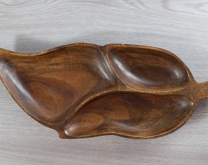 Wood Leaf Snack Tray / Vintage Solid Exotic Monkeypod Food Safe Serving Appetizer Dish Platter / Hawaii Tropical Tiki Aloha Decor