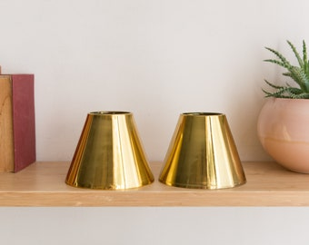 Vintage Gold Lamp Shade - Small Metal Pendant Chandelier Shade - Hollywood Regency Lamp / Lighting Shade