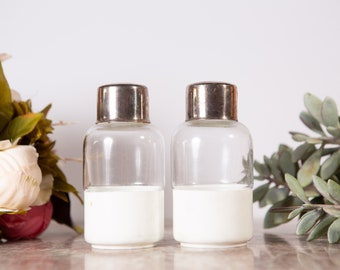 Bathroom Storage Jars - Vintage Glass Canisters - Retro Pill Bottles with Silver Lids
