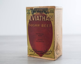 Rennie's Leviathan One Pound Mammoth Root Sugar Beet Seeds from 1948 / Box of Antique Toronto Farmer's Organic Vegetable Seeds