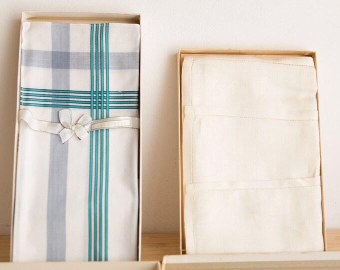 Vintage Sundew Handkerchiefs - New Old Stock 1960's Linen in Original Boxes