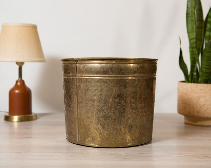 Vintage Brass Planter - Large Round Metal Pot for Cactus, Plants, Herbs, etc - Desert Modern Boho Decor