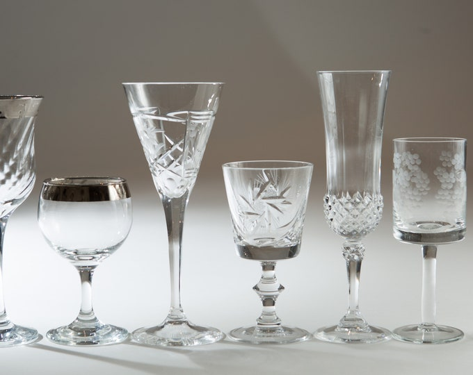 7 Vintage Cocktail Glasses - Floral, Geometric and etched Antique Glasses - Retro Cocktail Mad Men Barware