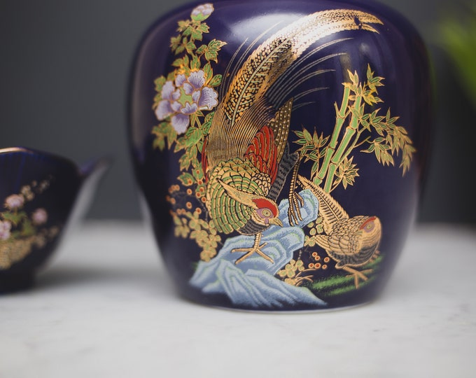 2 Vintage Cobalt Blue Ginger Jar and Bowl - Asian Style Peacock Bird Ceramic Lidded Pottery Vases - 1980's Flower Vase with Gold Leaf Motifs