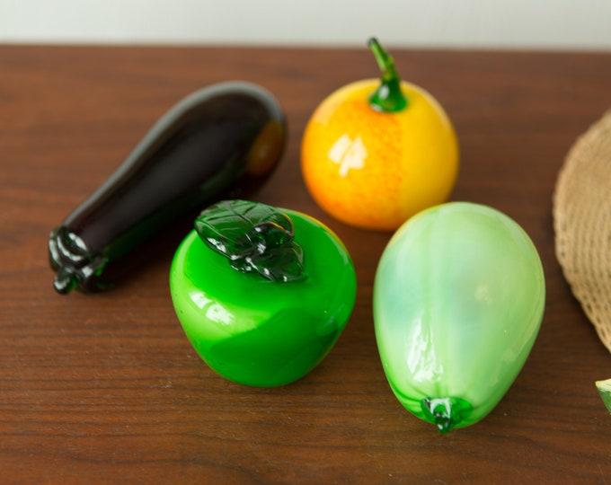Vintage Glass Fruit - Apple, Peach, Eggplant and Gourd - Retro Handblown Art Glass - Fruit and Vegetables Sculpture - Rustic Decor
