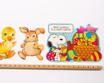 Vintage Easter Decor - Lot of Easter Paper Cutouts of Rabbit, Chick, Snoopy and Woodstock from Peanuts