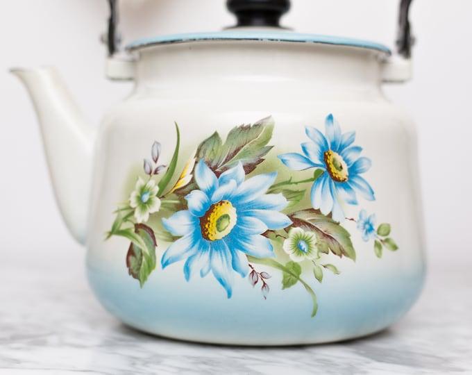 Enamel Floral Teapot - Vintage Camping Stovetop Enamelware with Blue Flowers - Lidded Retro Tea Pot