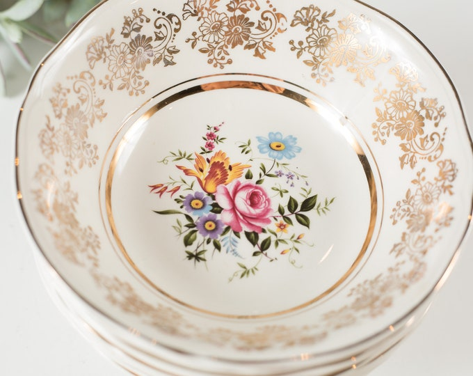 8 Alfred Meakin Vintage Bowls - English Floral Fruit Bowls with Flowers -  Ornate 22kt Golden Posy Soup Bowls - Mothers Day Gift