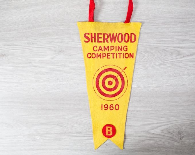 Vintage Toronto Pennant / 1950's Felt Souvenir Hanging Triangle Shaped Camping Theme Wall Decor / Toronto Sherwood District Camporee 1960