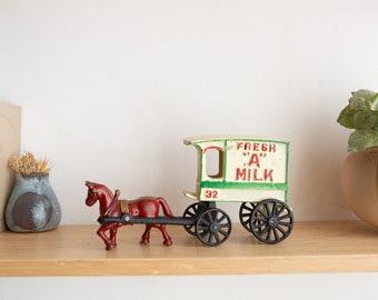 Vintage Cast Iron Fresh A Milk Wagon with Horse and Milk Bottles - Farmhouse Decor