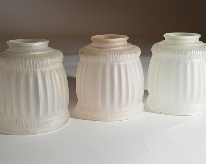 Vintage Glass Shades - Translucent Frosted Pressed Glass Pendant Chandelier Shades -Pleated Pattern Art Glass