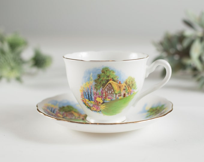 Vintage Teacup - Floral Tea Cup and Saucer with Country House- Crown Essex Bone China - Made in England
