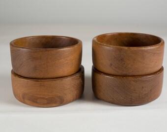 4 Teak Salad Bowls - Minimalist Vintage Solid Exotic Wood Food Safe Serving Appetizer Dish - Hand Carved Hardwood - Danish Modern Nordic