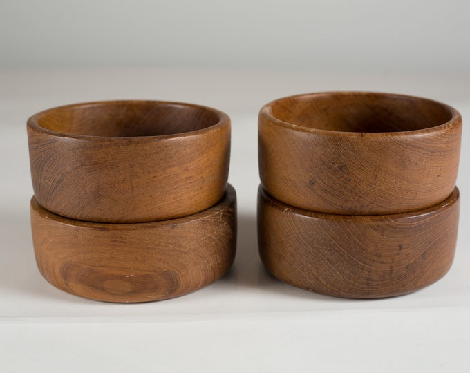 4 Teak Salad Bowls - Minimalist Vintage Solid Exotic Wood Food Safe Serving Appetizer Dish - Hand Carved Hardwood - Danish Modern Nordic