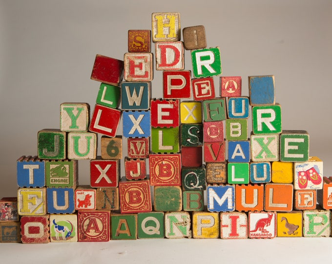 Antique Wood Letter Blocks - 71-Piece Wooden Colourful Vintage Double Sided Square Kids Toys - Spelling Game