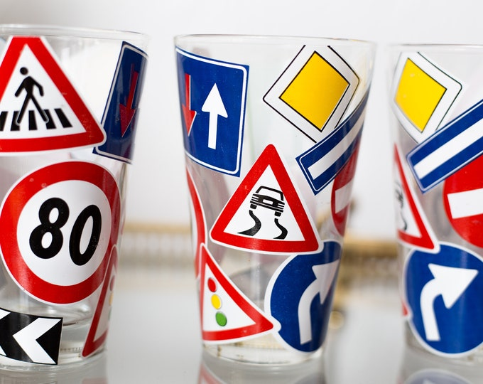 Vintage Road Sign Glasses - 80's Drivers Test Glassware - Highway Signage Cocktail Drinking Cups