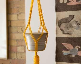 Vintage Ceramic Plant Pot with Yellow Colored Macrame - Indoor Planter Hanging