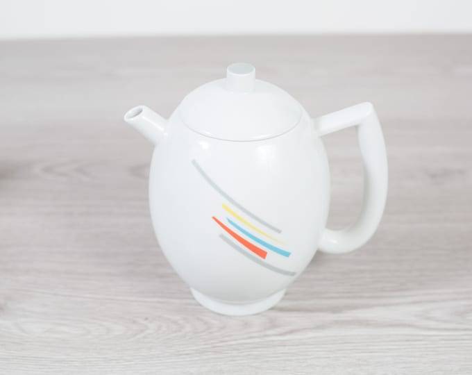 Vintage Arzberg Teapot - White Tea Pot with Rainbow Stripe Pattern - Minimalist Mid Century Geometric Shape Dinnerware - Made in Germany