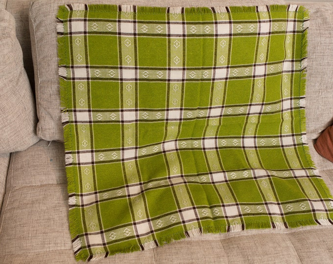 Vintage Tea Towel - Irish Linen Fabric Cloth with Green and Cream Checkered Pattern