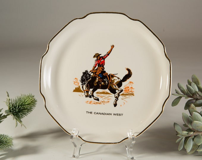 Cowboy Wall Plate - The Canadian West Calgary Stampede Horse Riding Equestrian Artwork on Ceramic Plate by Decalcraft Toronto