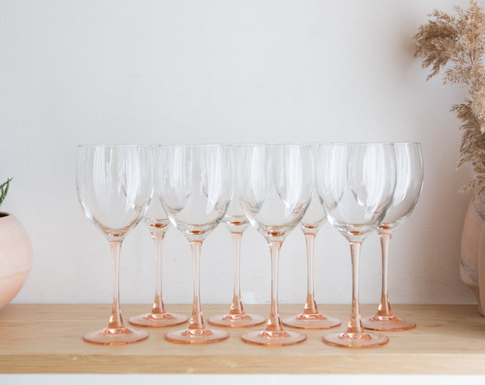 8 Vintage Wine Glasses - 1980's Pink Stem Glasses - New Year's Eve Party Celebration Glassware - Rose Glasses - Bridal Shower Cocktails