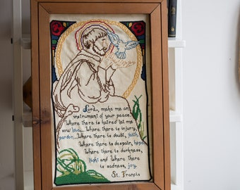 Religious Biblical Artwork - Wood Framed Embroidered Cross Stitch St. Francis of Assisi Fabric Art Tapestry with Prayer - Jesus The Bible
