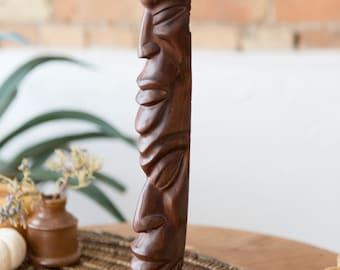 Vintage Totem Statue - Natural Hardwood Carved Face Tribal Carving - African Indigenous Artwork