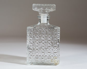 Vintage Liquor Decanter - Diamond Cut Whiskey Glass Bottle with Stopper - Made in France.