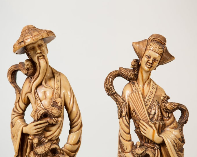 Mandarin Oliphants Emperor and Empress 2 Piece Figurine Set - Vintage Asian Male/Female Figurines Statues