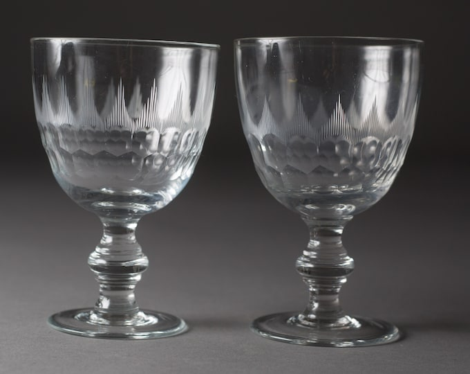 2 Vintage Wine Glasses - Etched ornate Glasses - Antique Cocktail Glasses with Geometric Pattern