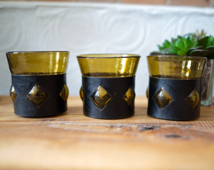 Felipe Derfingher Caged Glasses / Leather Sleeve Amber Bubble Art Deco Mexican Art Glass / Mid Century Boho 3-Piece Set Highball Tumblers