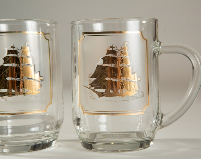 Nautical Ship Mugs - Gold Decal Vintage Sailboat Beer / Cocktail Glass - Ocean Sailing Pirate Mug - Gift for Dad - Father's Day Gift