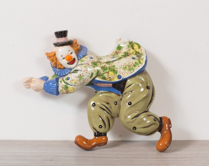 Ceramic Clown Wall hanging - Circus Halloween Decor Clown with Ginger Hair