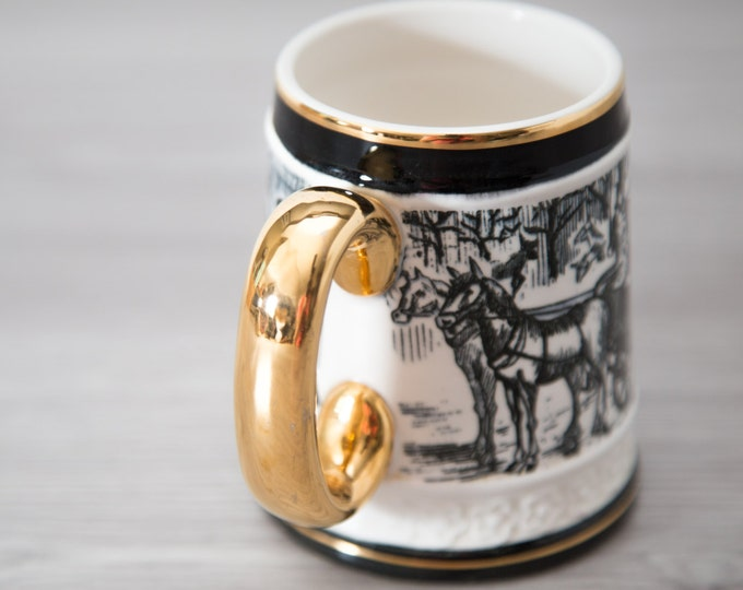 English Mug with Horse and Carriage / Black, Ivory and Gold painted  Buggy Scene with Man and Top Hat / Made in Japan