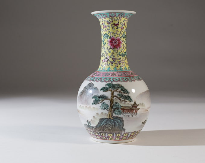 Vintage Asian Vase - Fluted Bubble Vase with Trees, Flowers, Temple Motif - Asian Fine Porcelain - Ceramic Chinese Floral Urn Pottery