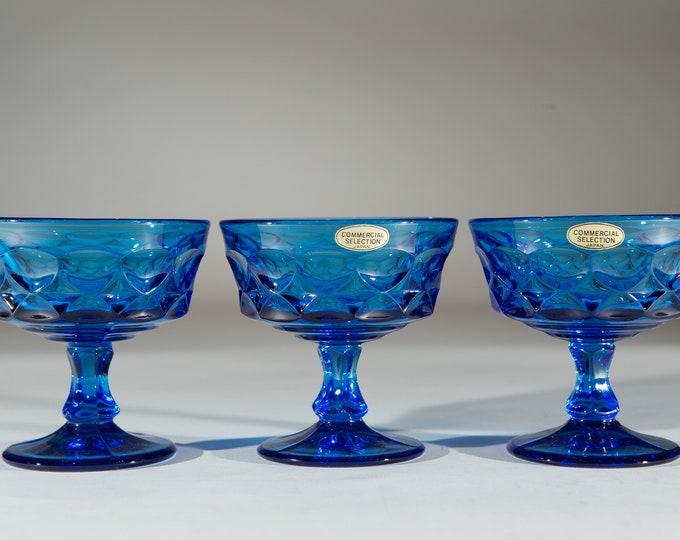 3 Blue Glass Parfait Cups - 8oz Colonial Blue Coupe Glass - Ocean Blue Parfait Glasses with Thumbprint Pattern - Retro Barware / Glassware