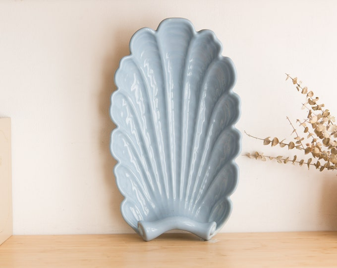 Abingdon Art Deco Tray - Pastel Blue Colored Vintage Ceramic Decorative Plate - Shell Shaped Dish - Golden Girls, American Kitsch