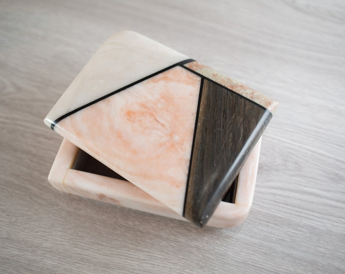 Ben T. Ansley (BTAIV) Box / Geometric Stone Designer Jewelry Box in Marbled Pink, Brown and White / Contemporary Alabaster Signed by Artist