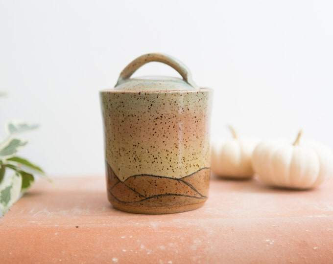 Handmade Ceramic Canister - Painted Brown Speckled  Vintage Boho Glaze Jar - Lidded Studio Pottery Earthtone Art Coffee Pot Earthenware