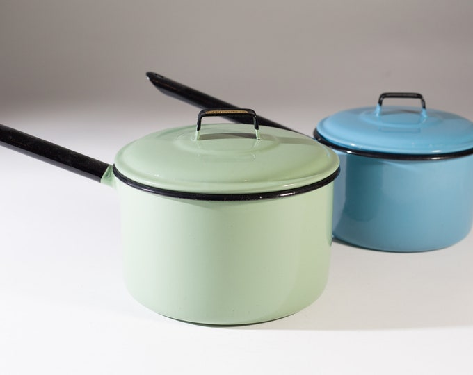 Enamel Cooking Pots - Pair of Green and Blue Judge Ware Rustic Camping Enamelware Style Stovetop Cooking Pots