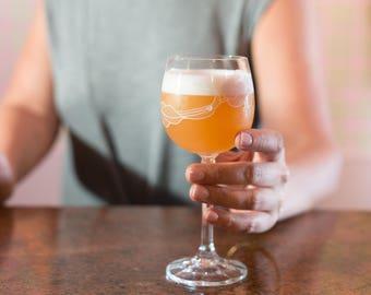9 Vintage Rose Wine Glasses - Pink Rose Flower Motif Cocktail Glasses - Crystal 1960's Mid Century Modern Glassware